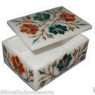 "4""x3""x2"" Marble Jewelry Box Handmade Malachite Pietra Dura Decor Arts Gifts"