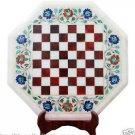 "17"" White Marble Coffee Chess Table Top Malachite Inlay Work Pietradure Home Art"