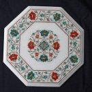 "12"" Marble Dining Coffee Table Top Malachite Hakik Pietra Dura Home Decor Arts"