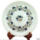 """10"""" Marble Serving Plate Real Lapis Stone Mosaic Inlay Marquetry Art Table Decor"""