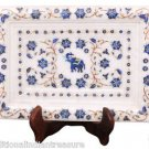 "10""x7"" Marble Serving Tray Plate Lapis Lazuli Floral Mosaic Inlay Art Decor Gift"