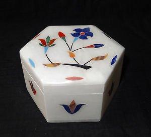 Marble Hexagon Jewelry Trinket Box Handmade Inlaid Home Decor New Art