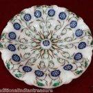 "7"" White Marble Dry Fruit Bowl Marquetry Gemstone Lapis Lazuli Kitchen Decor"
