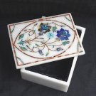 Marble Jewelry Box Marquetry Lapis Paua Shell Handmade Inlaid New Year Shopping