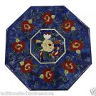 """20"""" Marble Dining Coffee Table Top Flower Lapis Lazuli Marquetry Home Decor Arts"""