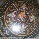 "36"" Mosaic Real Gems Black Marble Table Top Inlaid Rare Home Decor Art"