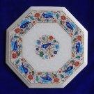 "12"" Marble Table Top Paua Shell Pietra Dura Bird Design Floral Home Decorative"