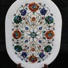 "13""x18"" White Marble Plate Tray Decorative Pietra Dura Handmade Semi Precious"