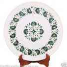 """12"""" White Marble Serving Dish Plate Rare Malachite Inlaid Marquetry Table Decor"""
