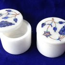 "2""x2"" Marble Bunch Of Grapes Design Lapis Jewelry Trinket Box Home Decor Art"