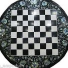 "24"" Marble Coffee Table Top Chess Mosaic Eblone Shell Pietra Dura Handmade Gifts"