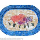 """11""""x17"""" Decorative Marble Tray Hunting Oval Mosaic Marquetry Home Decor Gifts"""