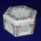Marble Turquoise Pietra Dura Jewelry Trinket Box Handmade Shopping Gifts New