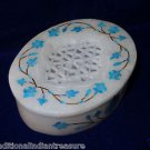 "4""x3""x1.25"" Marble Oval Jewelry Box Handmade Turquoise Pietra Dura Inlaid Decor"