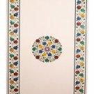 4'x 2' White Marble Coffee corner Table Top Inlay Malachite Handmade Marquetry