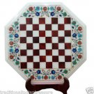 "16"" White Marble Coffee Chess Table Top Marquetry Turquoise Handmade Home Decor"