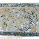 """12""""x 18"""" Marble Serving Tray Plate Mother of Pearl Gem Mosaic Inlaid Home Decor"""