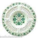 "10"" White Marble Plate Pietra Dura Malachite Filigree Handmade Home Decor Gifts"