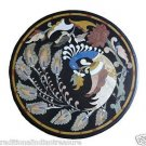 "30"" Black Marble Dining Table Top Handmade Peacock Marquetry Home Decor New"