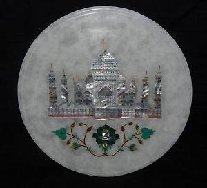 "8"" Marble Floral Plate Taj Mahal Handmade Pietra Dura Malachite Home Decor Art"
