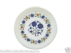 "8"" White Marble Plate Pietra Dura Mosaic Handmade Home Decor Gifts Arts"