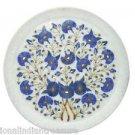 "12"" Decorative Marble Plate Pietra Dura Lapis Lazuli Handmade Home Decor Gifts"