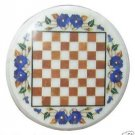 "12"" White Marble Round Table Top Handmade Pietra Dura Chess Play Home Decor"