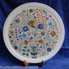 """15"""" White Marble Plate Real Gems Mosaic Pietra Dura Handmade Home Decor Gifts"""