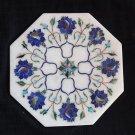"8"" White Marble Lapis Lazuli handmade Pietra Dura Tile Art Floral Home Decor Art"