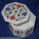 "3""x3""x2"" Decorative Marble Jewelry Box Malachite Pietra Dura Inlaid Home Decor"