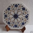 "8"" White Marble Plate Serving Tray Lapis Lazuli Handmade Pietra Dura Home Decor"