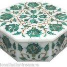 """6""""x6""""x2"""" Decorative White Marble Jewelry Box Malachite Handmade Pietra Dura Art"""