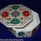 "5""x5""x2"" Marble Jewelry Trinket Box Pietra Dura Malachite Floral Design Arts New"