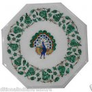 """18"""" Marble Coffee Table Top Hand Inlay Pietra Dura Peacock Art With Stand Gifts"""