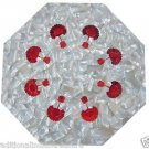 """18"""" White Marble Table Top Semi Precious Handmade Mother Of Pearl With Stand New"""