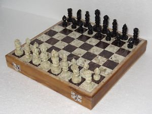 "10""x10"" Marble Ebony Chess Set Handcrafted gorara stone pieces Play &  gifts New"