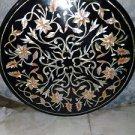 "24"" Black Marble Coffee Table Top Paua Shell Marquerty Handmade Corner Table Top"
