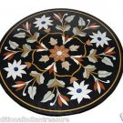 "29"" Black Marble Table Top Coffee Table Top Marquetry Handmade Corner Table Arts"