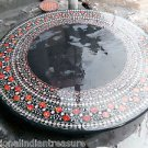 """60"""" Black Marble Large Dining Table Top Inlaid Pietra Dura Real Gems Marquerty"""
