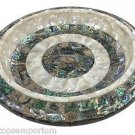 White Marble Fruit Bowl Real Abalone Shell Gems Inlay Marquetry Table Decor Gift