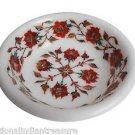 White Marble Dry Fruit Bowl  Carnelian Inlay Pietradure Art Kitichen Decor Gifts