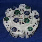 Marble Jewelry Trinket Box Pietra Dura Lapis Malachite Inlaid Round Six Elephant