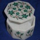 "3""x3""x2"" Decorative Marble Ring Box Malachite Pietra Dura Inlaid Home & Garden"