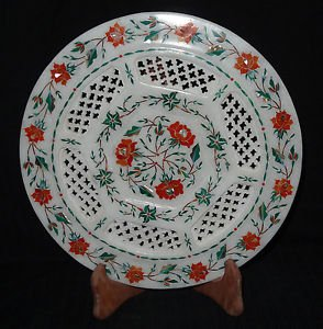 "10"" Marble Plate Handmade Inlaid Malachite Pietra Dura Home Decor Gifts"
