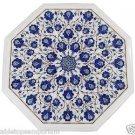 "Size 15""x15"" Marble Coffee Center Table Top Lapis Lazuli Mosaic Inlay Patio Deco"