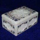 Marble Jewelry Box Trinket Lapis Lazuli Pietra Dura Floral Design Decor Gifts