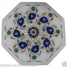 """12"""" White Marble Lapis Lazuli Mosaic Dining Coffee Table Top Home Decor Arts"""
