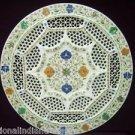 "18"" White Marble Plate Pietra Dura Filigree Handmade Semi Precious Marquetry Art"