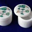 "2""x2"" Marble Bunch Of Grapes Design Malachite Jewelry Trinket Box Home Decor Art"