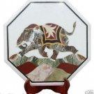 "18"" White Marble Coffee Corner Table Top Handicraft Pietradure Elephant Art Deco"